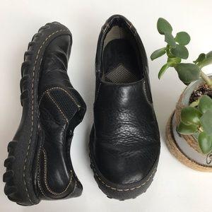 Born black rugged slip on leather loafer-7